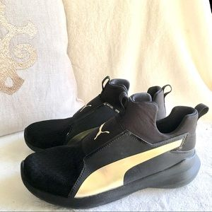 Puma high top gold black sneakers 8